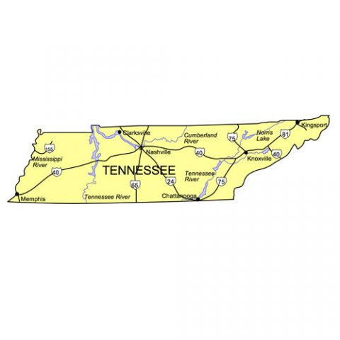 Tennessee US State PowerPoint Map, Highways, Waterways, Capital and Major Cities
