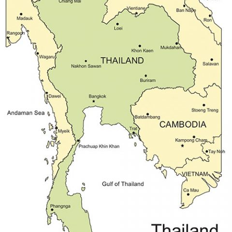 Thailand Map for PowerPoint, Major Cities and Capital