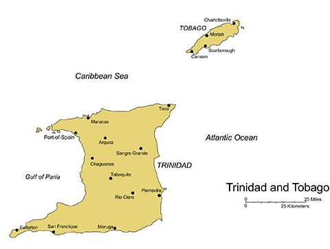 Trinidad and Tobago Maps for PowerPoint, Islands, Administrative Districts, Capitals