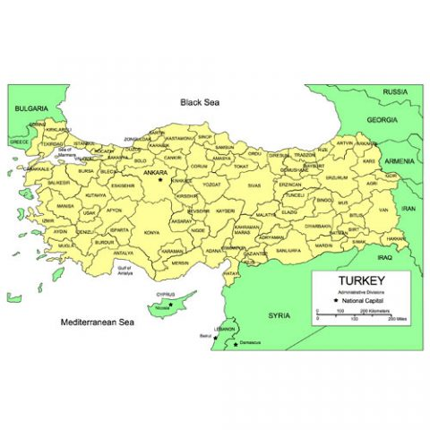 Turkey Map for PowerPoint, Administrative Districts, Capitals