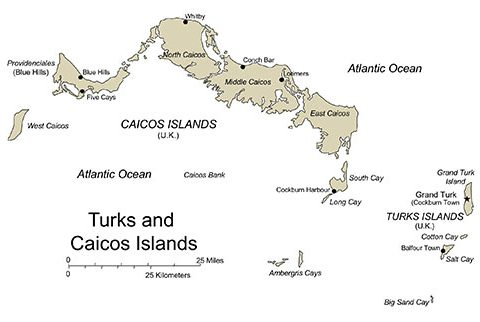 Turks and Caicos Map for PowerPoint, Islands, Capitals