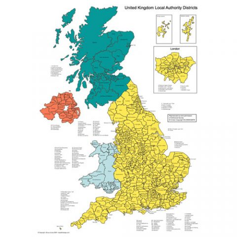 England, UK, Scotland, Wales, Northern Ireland, Map for PowerPoint, Administrative Districts, Capitals