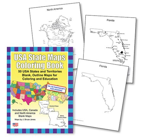 USA States Maps coloring book sample pages