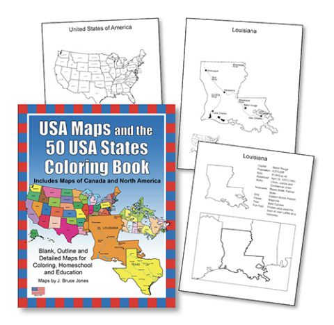 USA and the 50 USA States Color book sample pages