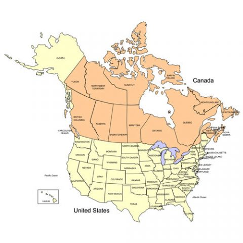 USA and Canada Combo PowerPoint Map, Editable States, Provinces & Territories