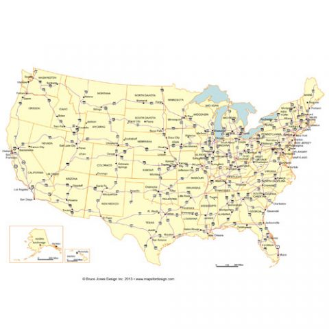 USA 50 Editable State PowerPoint Map, Highway and Major Cities