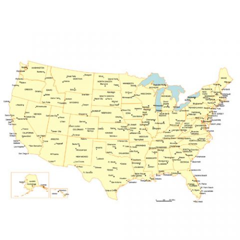 USA 50 Editable State PowerPoint Map, Major City and Capitals Map