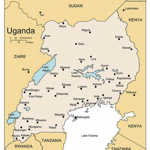 Uganda Map for PowerPoint, Major Cities and Capital
