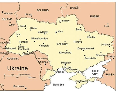 Ukraine Map for PowerPoint, Major Cities and Capital