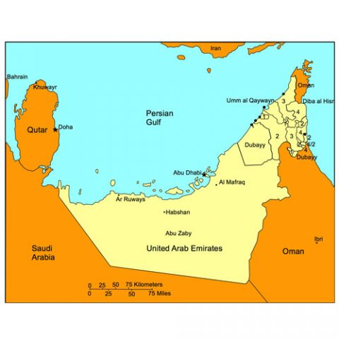 United Arab Emirates Map for PowerPoint, Administrative Districts, Capitals