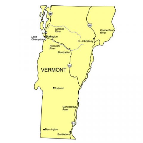 Vermont US State PowerPoint Map, Highways, Waterways, Capital and Major Cities