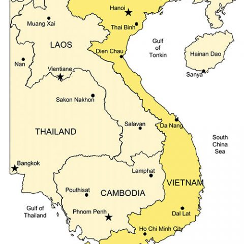 Vietnam Map for PowerPoint, Major Cities and Capital