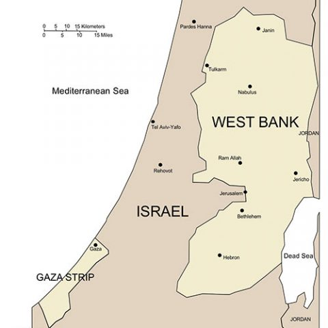 West Bank and Gaza Map for PowerPoint, Major Cities and Capital