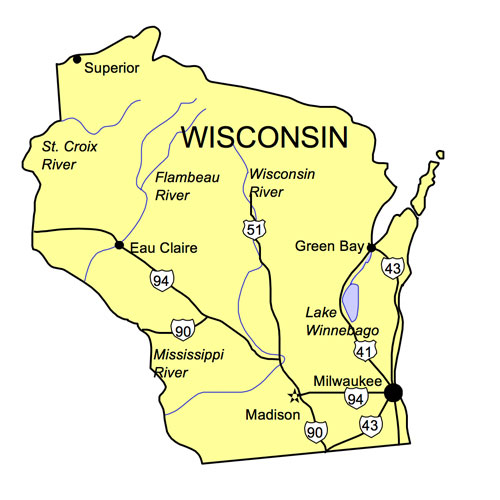 Wisconsin US State PowerPoint Map, Highways, Waterways, Capital and Major Cities