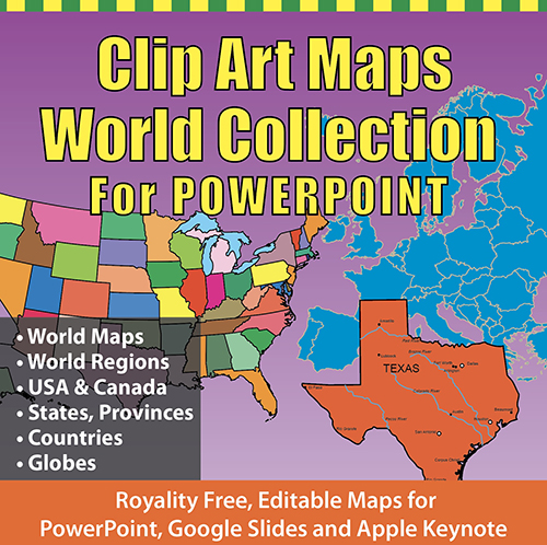 Clip Art maps World collection for PowerPoint