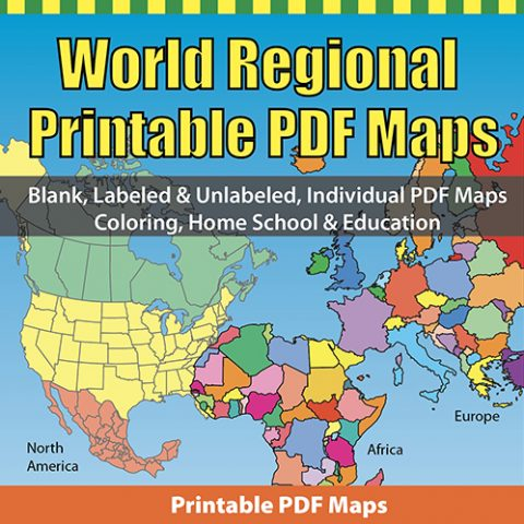 World Regional Printable PDF Map Set