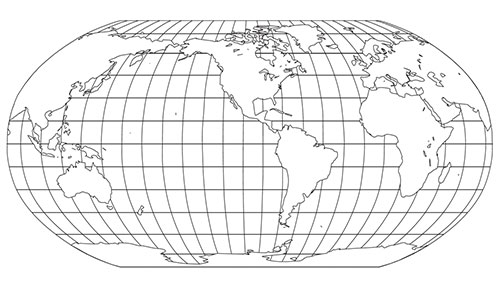 World Robinson Globe Projection printable pdf and powerpoint black and white jpg map