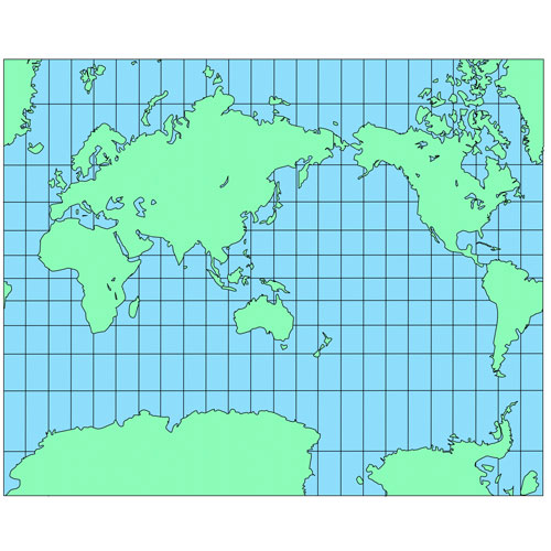 World Mercator Projection PowerPoint Map, Australia Centered, Continents
