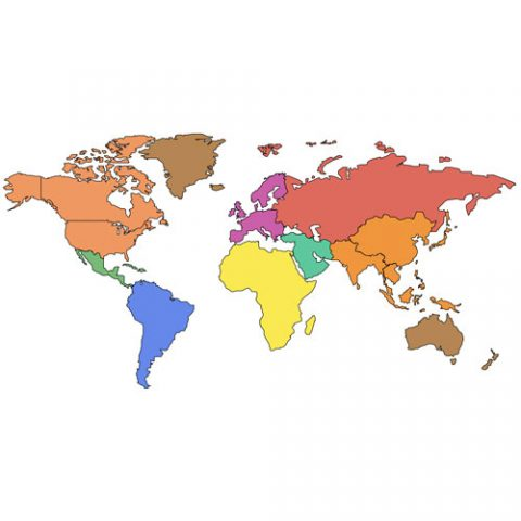World Mercator Projection PowerPoint Map, Europe Centered, Continents
