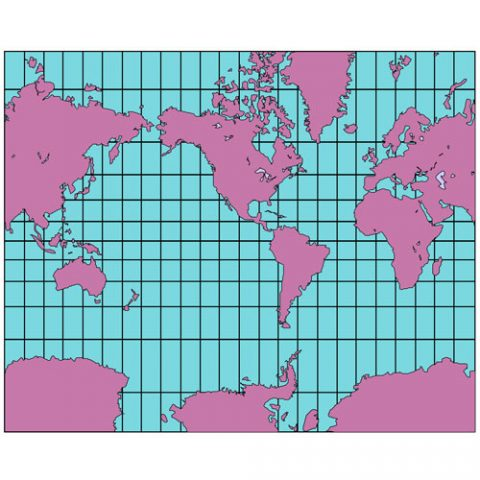 World Mercator Projection PowerPoint Map, North America Centered, Continents-3