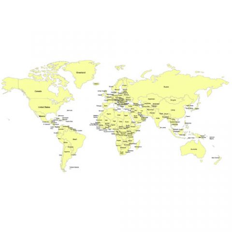 #1 World Mercator Projection PowerPoint Map, Individual Editable Countries with Names