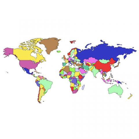 World Mercator Projection PowerPoint Map, Individual Editable Countries no Names