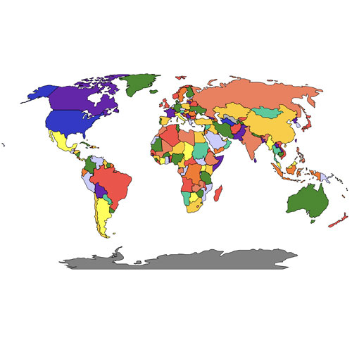 #2 World Robinson Projection PowerPoint Map, Individual Editable Countries, Europe Centered