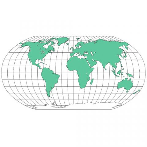 World Robinson Projection PowerPoint Map, Europe Centered, Continents