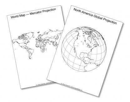 picture relating to World Map Printable Pdf known as Earth Globes and Projections Printable Blank PDF Maps Clip