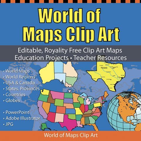 World of Maps clip art collection, powerpoint and illustrator