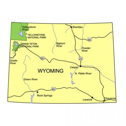 Wyoming US State PowerPoint Map, Highways, Waterways, Capital and Major Cities