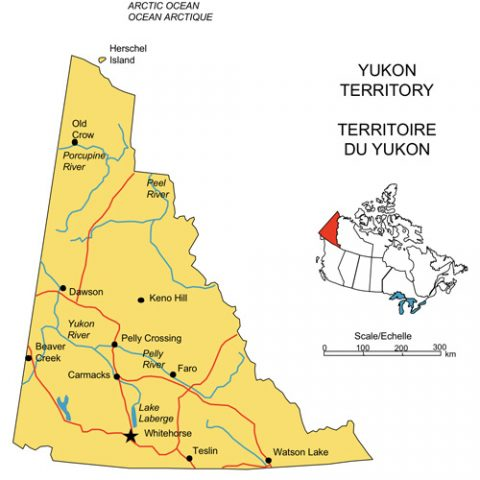 Yukon Territory, Canada Province PowerPoint Map, Highways, Waterways, Cities