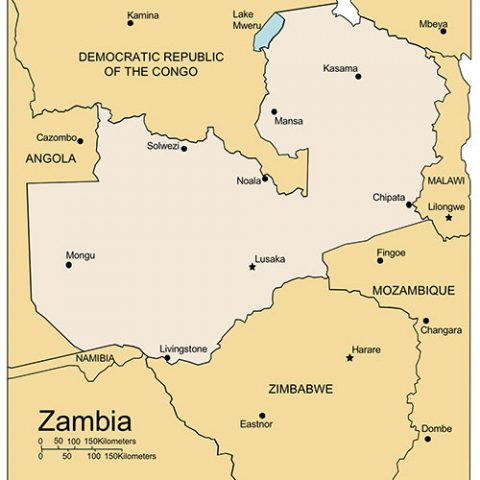 Zambia Map for PowerPoint, Major Cities and Capital