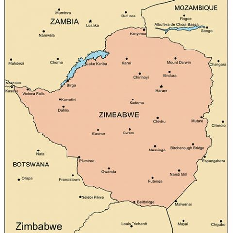 Zimbabwe Map for PowerPoint, Major Cities and Capital