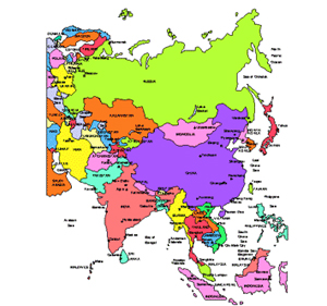 Map Of Countries In Asia.Russia And Asia Regional Powerpoint Map Countries Names Clip Art