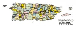 Puerto Rico PowerPoint Map, US Territory, Administrative Districts, Capital
